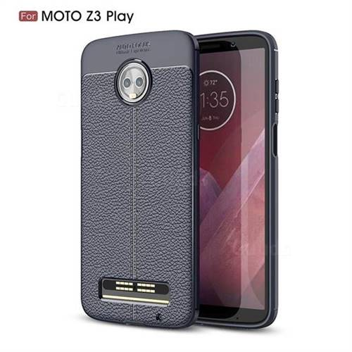 Luxury Auto Focus Litchi Texture Silicone TPU Back Cover for Motorola Moto Z3 Play - Dark Blue