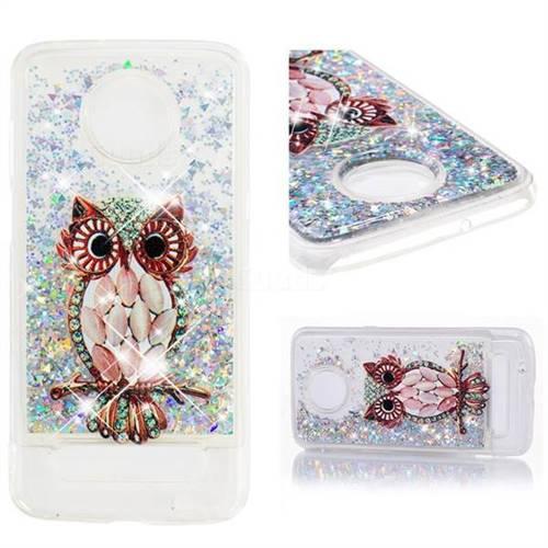 Dynamic Liquid Glitter Quicksand Soft TPU Case for Motorola Moto Z3 Play - Seashell Owl