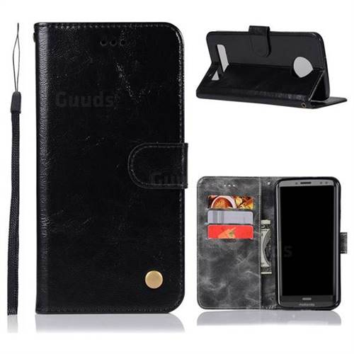 Luxury Retro Leather Wallet Case for Motorola Moto Z3 Play - Black