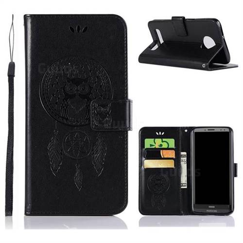 Intricate Embossing Owl Campanula Leather Wallet Case for Motorola Moto Z3 Play - Black