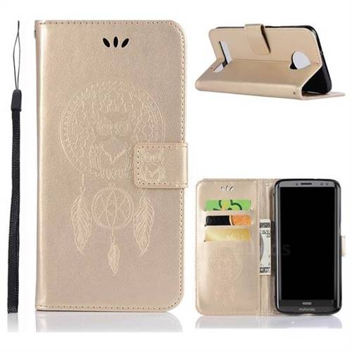 Intricate Embossing Owl Campanula Leather Wallet Case for Motorola Moto Z3 Play - Champagne