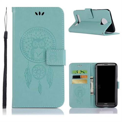 Intricate Embossing Owl Campanula Leather Wallet Case for Motorola Moto Z3 Play - Green