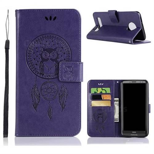Intricate Embossing Owl Campanula Leather Wallet Case for Motorola Moto Z3 Play - Purple