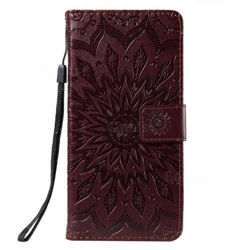 competitive price ceba8 1d732 Embossing Sunflower Leather Wallet Case for Motorola Moto Z3 Play - Brown