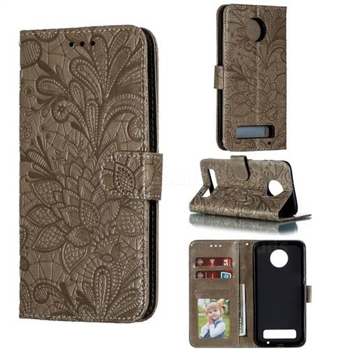Intricate Embossing Lace Jasmine Flower Leather Wallet Case for Motorola Moto Z3 Play - Gray