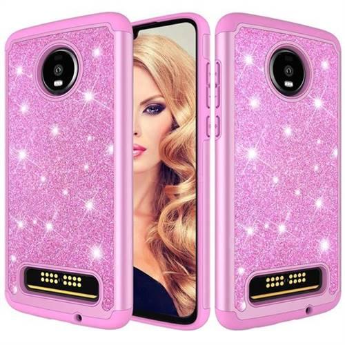 lowest price 94395 13c36 Glitter Rhinestone Bling Shock Absorbing Hybrid Defender Rugged Phone Case  Cover for Motorola Moto Z4 Play - Pink