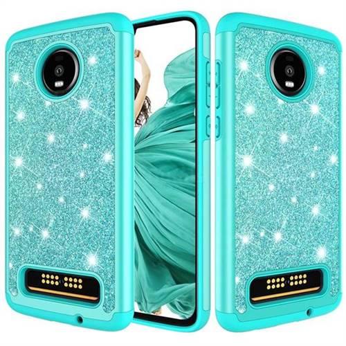 promo code 12b6b d4943 Glitter Rhinestone Bling Shock Absorbing Hybrid Defender Rugged Phone Case  Cover for Motorola Moto Z4 Play - Green