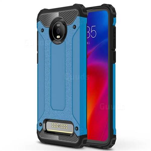 King Kong Armor Premium Shockproof Dual Layer Rugged Hard Cover for Motorola Moto Z4 Play - Sky Blue