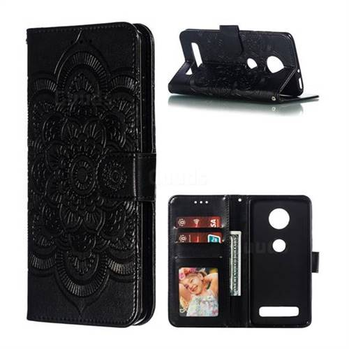 Intricate Embossing Datura Solar Leather Wallet Case for Motorola Moto Z4 Play - Black