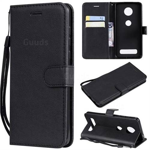 Retro Greek Classic Smooth PU Leather Wallet Phone Case for Motorola Moto Z4 Play - Black