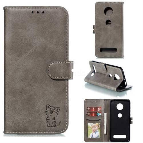 Embossing Happy Cat Leather Wallet Case for Motorola Moto Z4 Play - Gray