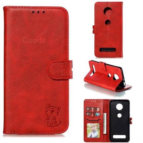 Embossing Happy Cat Leather Wallet Case for Motorola Moto Z4 Play - Red