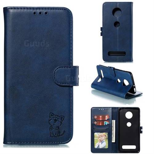Embossing Happy Cat Leather Wallet Case for Motorola Moto Z4 Play - Blue