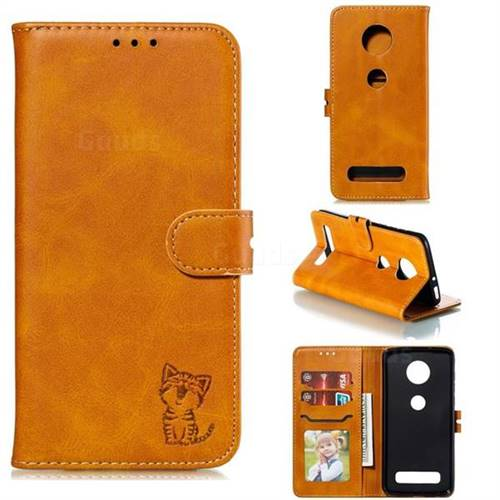 Embossing Happy Cat Leather Wallet Case for Motorola Moto Z4 Play - Yellow