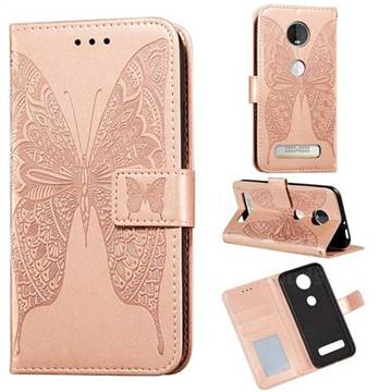 Intricate Embossing Vivid Butterfly Leather Wallet Case for Motorola Moto Z4 Play - Rose Gold