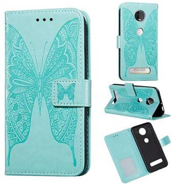 Intricate Embossing Vivid Butterfly Leather Wallet Case for Motorola Moto Z4 Play - Green