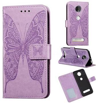 Intricate Embossing Vivid Butterfly Leather Wallet Case for Motorola Moto Z4 Play - Purple