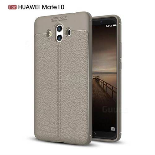 Luxury Auto Focus Litchi Texture Silicone TPU Back Cover for Huawei Mate 10 (5.9 inch, front Fingerprint) - Gray