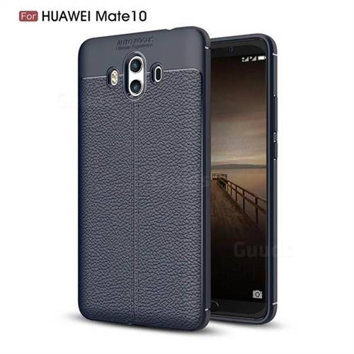 Luxury Auto Focus Litchi Texture Silicone TPU Back Cover for Huawei Mate 10 (5.9 inch, front Fingerprint) - Dark Blue
