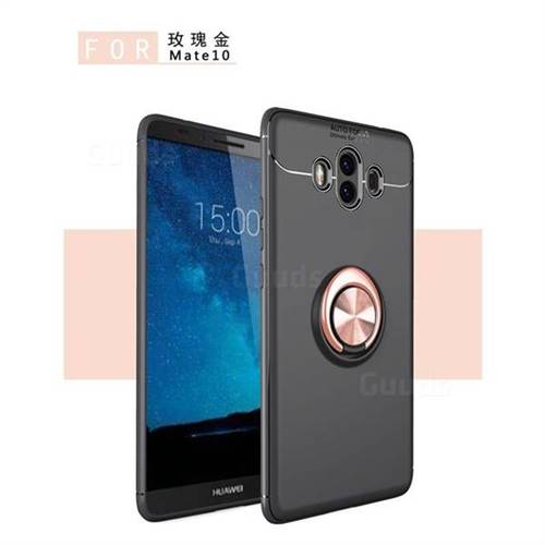 Auto Focus Invisible Ring Holder Soft Phone Case for Huawei Mate 10 (5.9 inch, front Fingerprint) - Black Gold