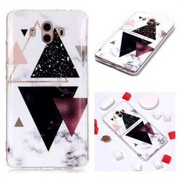 Four Triangular Soft TPU Marble Pattern Phone Case for Huawei Mate 10 (5.9 inch, front Fingerprint)