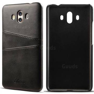 Suteni Retro Classic Card Slots Calf Leather Coated Back Cover for Huawei Mate 10 (5.9 inch, front Fingerprint) - Black