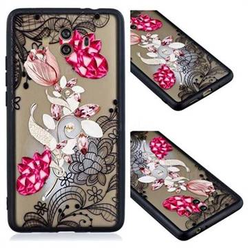 Tulip Lace Diamond Flower Soft TPU Back Cover for Huawei Mate 10 (5.9 inch, front Fingerprint)
