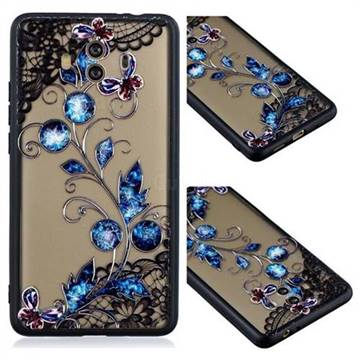 Butterfly Lace Diamond Flower Soft TPU Back Cover for Huawei Mate 10 (5.9 inch, front Fingerprint)