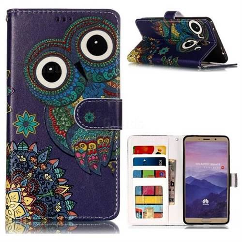 Folk Owl 3D Relief Oil PU Leather Wallet Case for Huawei Mate 10 (5.9 inch, front Fingerprint)