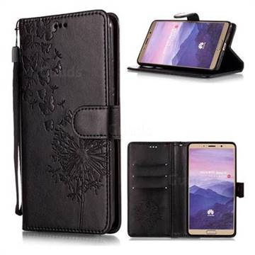 Intricate Embossing Dandelion Butterfly Leather Wallet Case for Huawei Mate 10 (5.9 inch, front Fingerprint) - Black