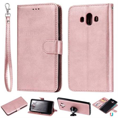 Retro Greek Detachable Magnetic PU Leather Wallet Phone Case for Huawei Mate 10 (5.9 inch, front Fingerprint) - Rose Gold