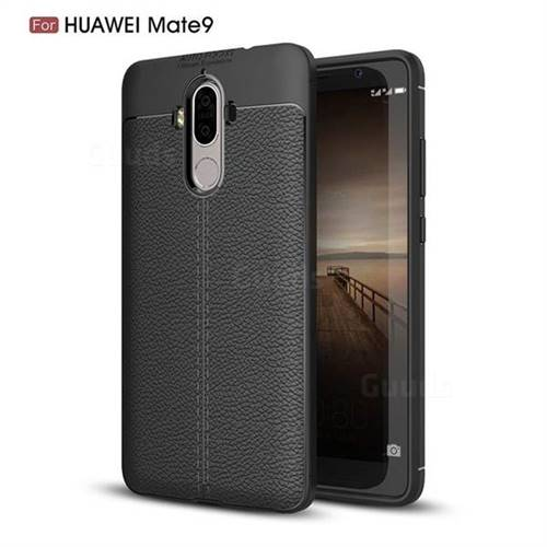 Luxury Auto Focus Litchi Texture Silicone TPU Back Cover for Huawei Mate9 Mate 9 - Black