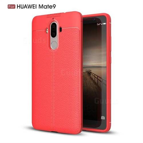 Luxury Auto Focus Litchi Texture Silicone TPU Back Cover for Huawei Mate9 Mate 9 - Red