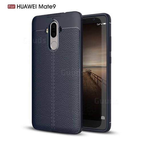 Luxury Auto Focus Litchi Texture Silicone TPU Back Cover for Huawei Mate9 Mate 9 - Dark Blue