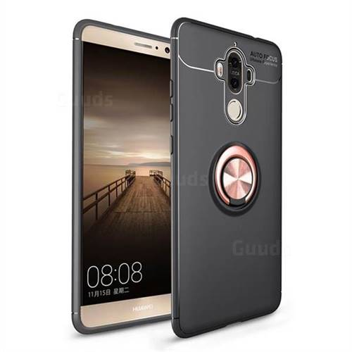 Auto Focus Invisible Ring Holder Soft Phone Case for Huawei Mate9 Mate 9 - Black Gold