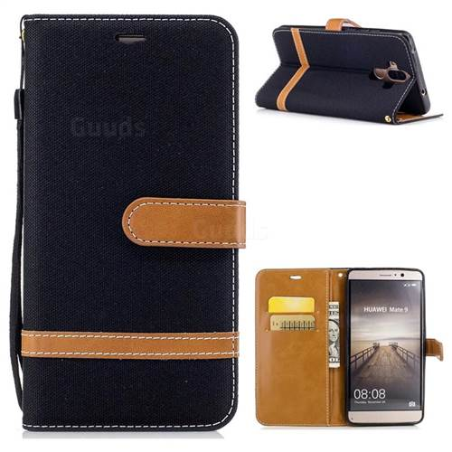 Jeans Cowboy Denim Leather Wallet Case for Huawei Mate9 Mate 9 - Black