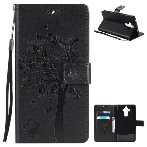 Embossing Butterfly Tree Leather Wallet Case for Huawei Mate9 Mate 9 - Black