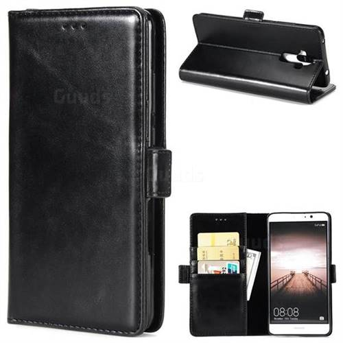 Luxury Crazy Horse PU Leather Wallet Case for Huawei Mate9 Mate 9 - Black