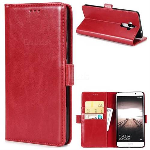 Luxury Crazy Horse PU Leather Wallet Case for Huawei Mate9 Mate 9 - Red