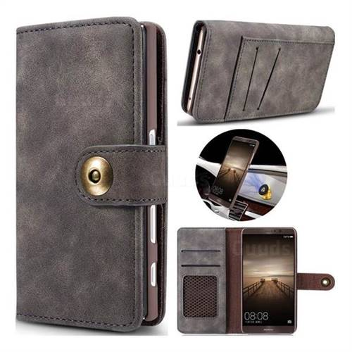 Luxury Vintage Split Separated Leather Wallet Case for Huawei Mate9 Mate 9 - Black