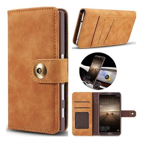 Luxury Vintage Split Separated Leather Wallet Case for Huawei Mate9 Mate 9 - Khaki