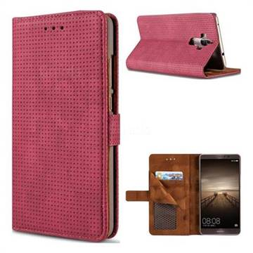 Luxury Vintage Mesh Monternet Leather Wallet Case for Huawei Mate9 Mate 9 - Rose