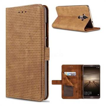 Luxury Vintage Mesh Monternet Leather Wallet Case for Huawei Mate9 Mate 9 - Brown