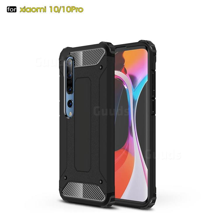 King Kong Armor Premium Shockproof Dual Layer Rugged Hard Cover for Xiaomi Mi 10 / Mi 10 Pro 5G - Black Gold
