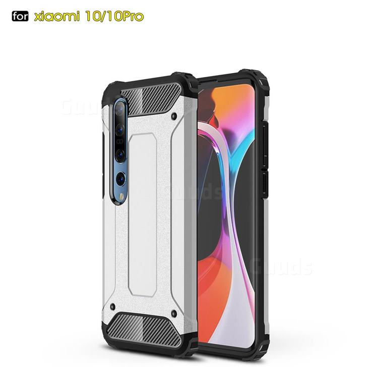 King Kong Armor Premium Shockproof Dual Layer Rugged Hard Cover for Xiaomi Mi 10 / Mi 10 Pro 5G - White