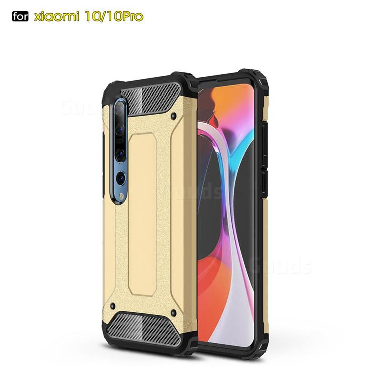 King Kong Armor Premium Shockproof Dual Layer Rugged Hard Cover for Xiaomi Mi 10 / Mi 10 Pro 5G - Champagne Gold