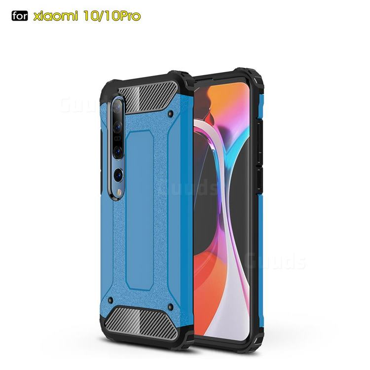 King Kong Armor Premium Shockproof Dual Layer Rugged Hard Cover for Xiaomi Mi 10 / Mi 10 Pro 5G - Sky Blue
