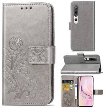 Embossing Imprint Four-Leaf Clover Leather Wallet Case for Xiaomi Mi 10 / Mi 10 Pro 5G - Grey