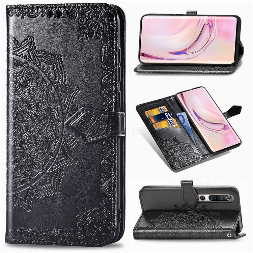 Embossing Imprint Mandala Flower Leather Wallet Case for Xiaomi Mi 10 / Mi 10 Pro 5G - Black
