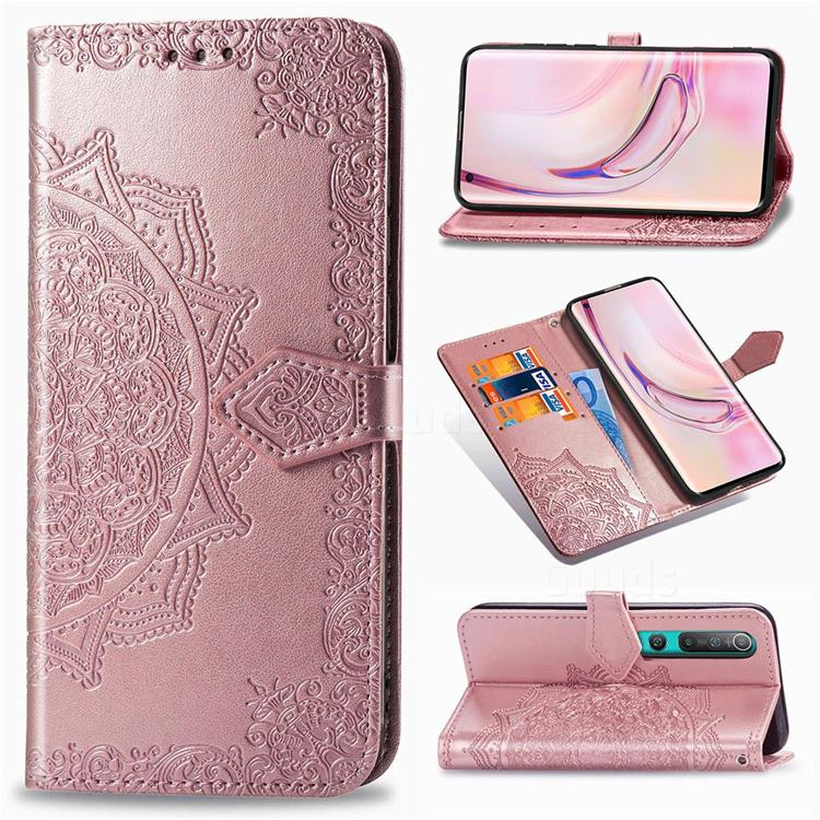 Embossing Imprint Mandala Flower Leather Wallet Case for Xiaomi Mi 10 / Mi 10 Pro 5G - Rose Gold